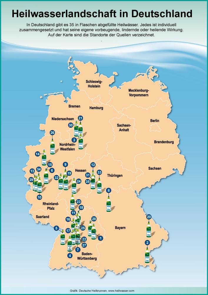 Deutschlandkarte mit allen Heilbrunnen